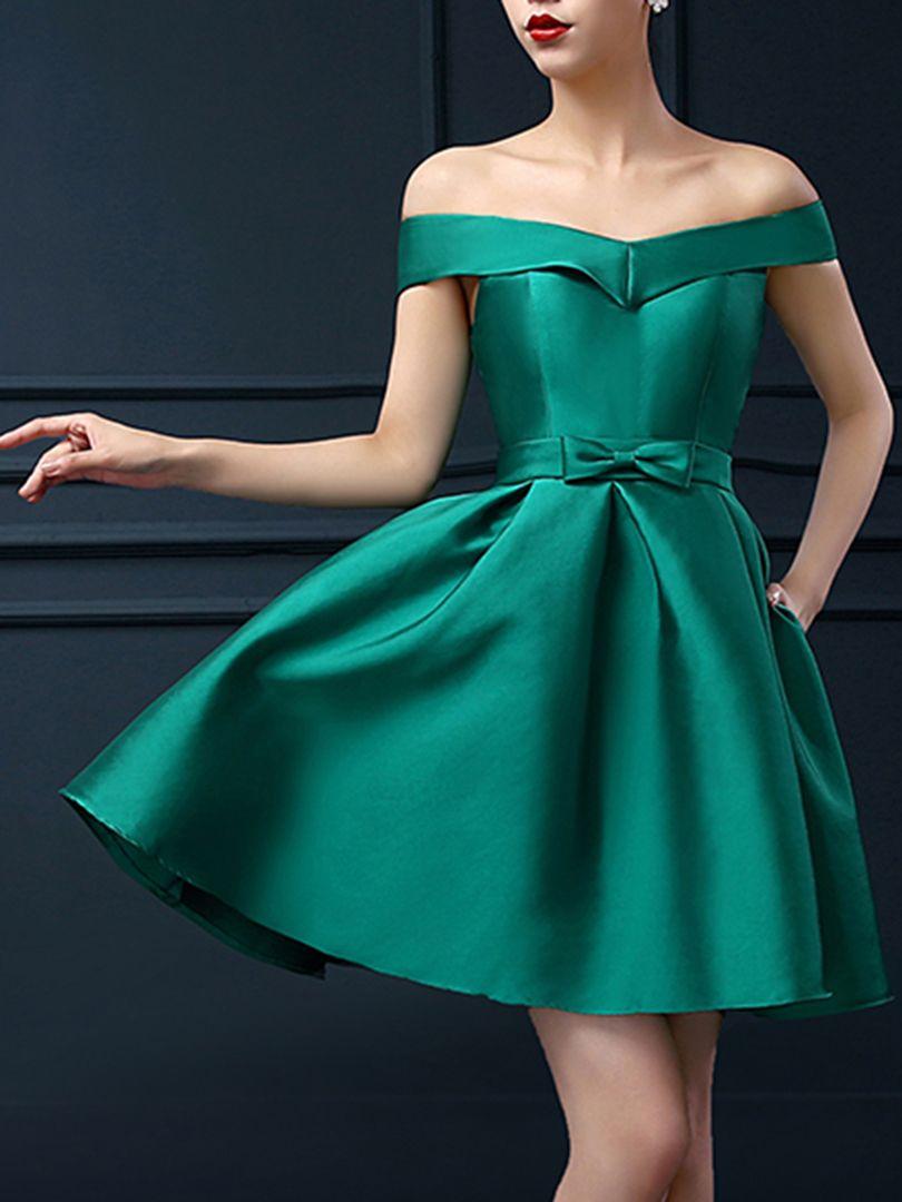Green Off Shoulder Bowknot Waist Lacing Back Prom Skater Dress ...