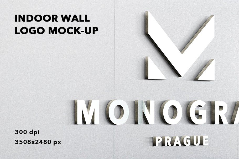 Indoor Wall Logo Mockup Badge 3d Logo Mockup Wall Logo Free Logo Mockup