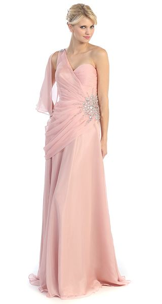 76ccc127787e9 One Shoulder Multi-Chiffon Full Length Formal Evening Gown (2-colors XS to  2XL)