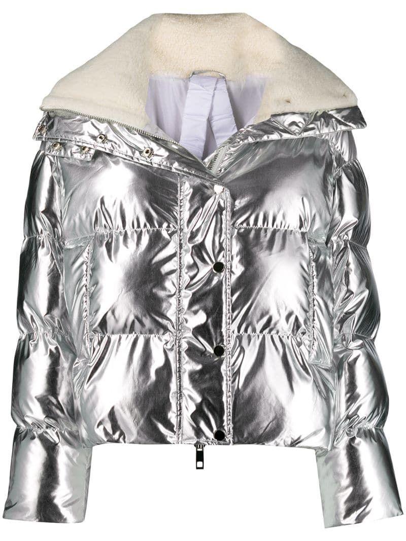 P A R O S H Metallic Puffer Jacket Farfetch Silver Puffer Jacket Puffer Jackets P A R O S H [ 1067 x 800 Pixel ]
