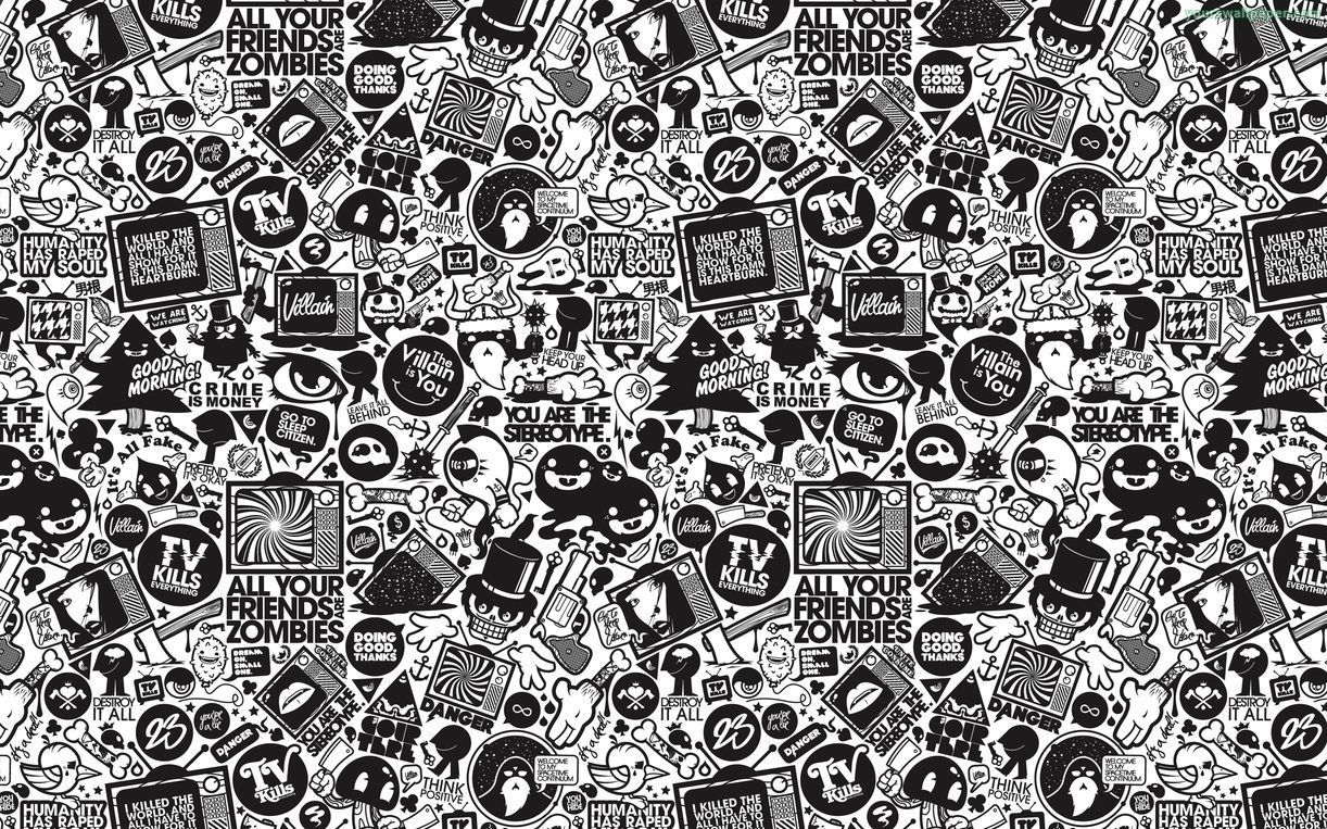 Doodle Backgrounds Black And White Cartoon Black Wallpapers Tumblr Cartoon Wallpaper