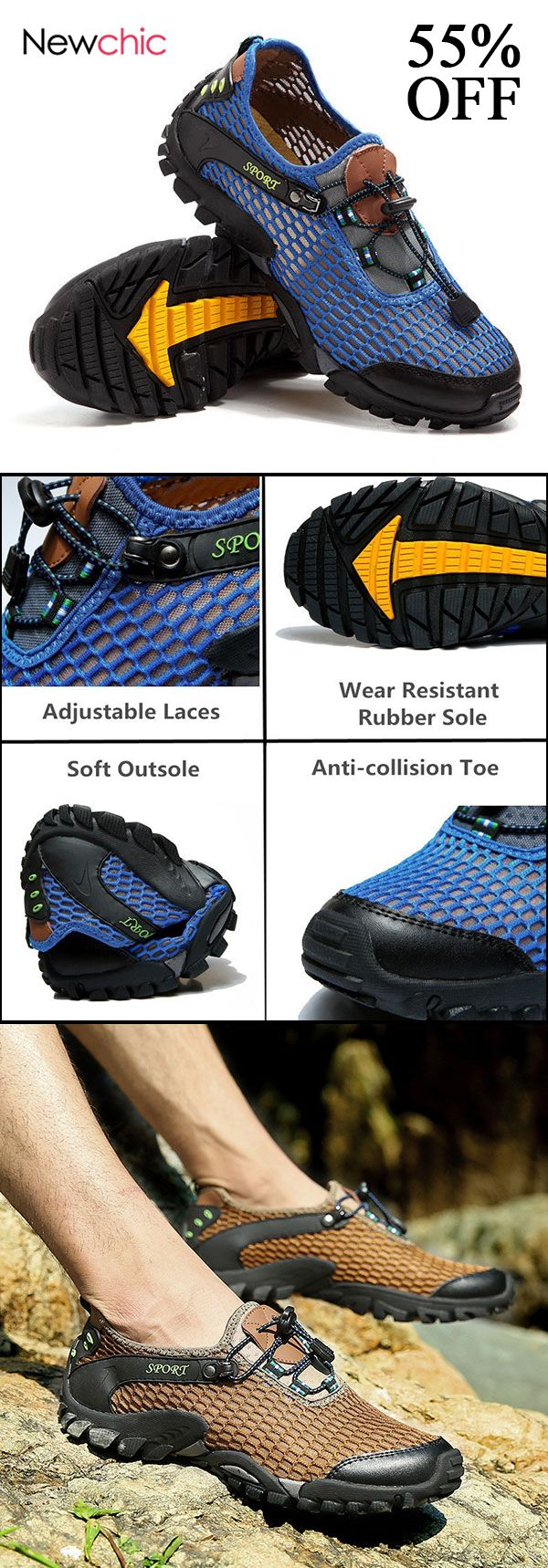 871b22591f6 [55%off]Men Lycra Mesh Breathable Outdoor Shock Absorption Hiking Shoes  #mensshoes #hiking #footwear