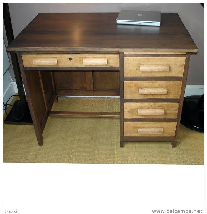 Ancien bureau art deco en bois massif design des annees 1930 1940 bureau americain art d co - Bureau bois ancien ...