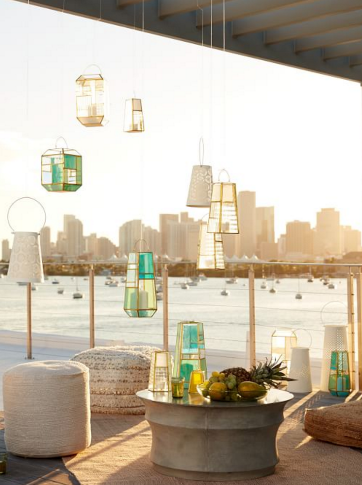 gold paneled glass lanterns