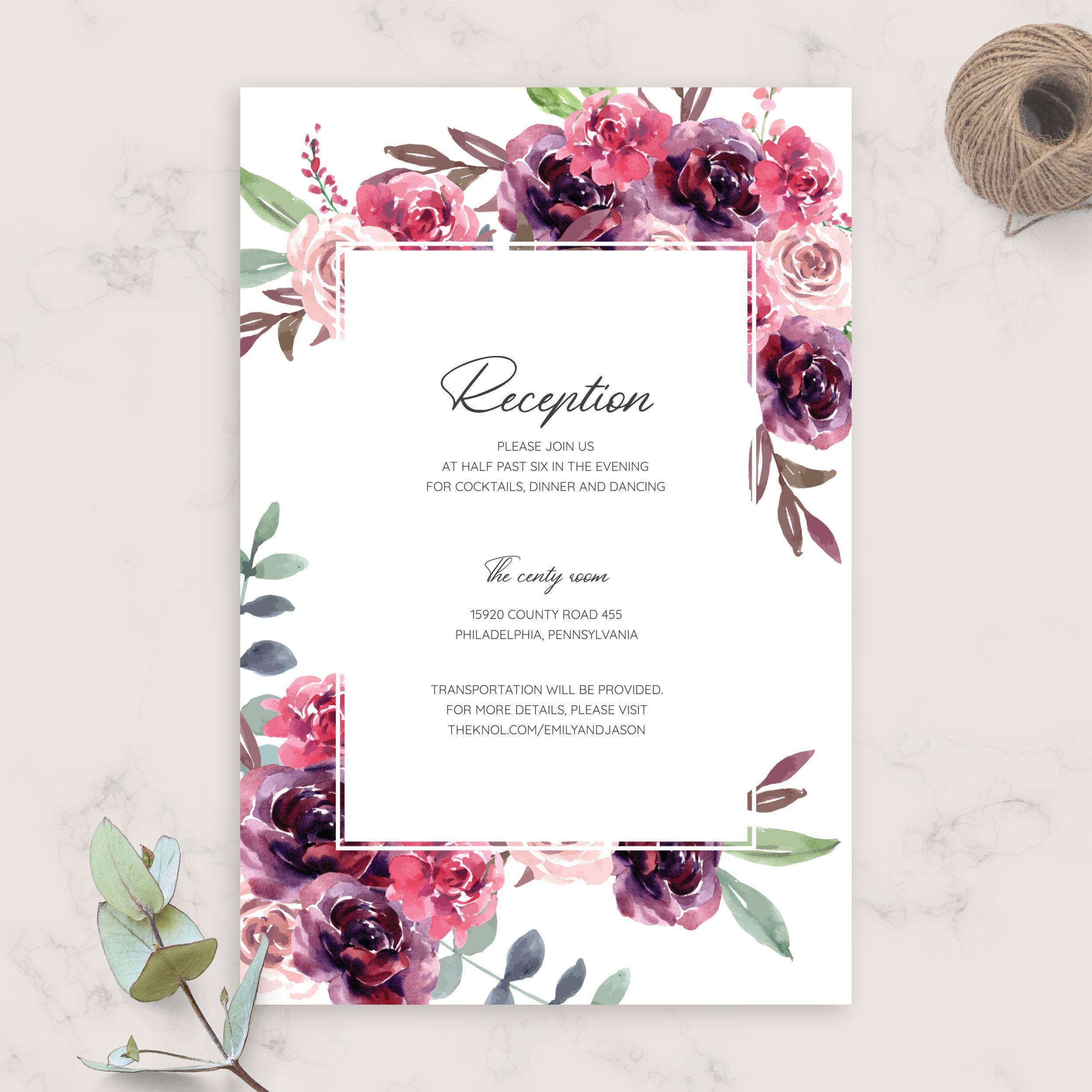 Burgundy Floral Wedding Reception Card Diy Printable Wedding Etsy In 2020 Wedding Reception Cards Wedding Invitation Enclosure Cards Wedding Details Card