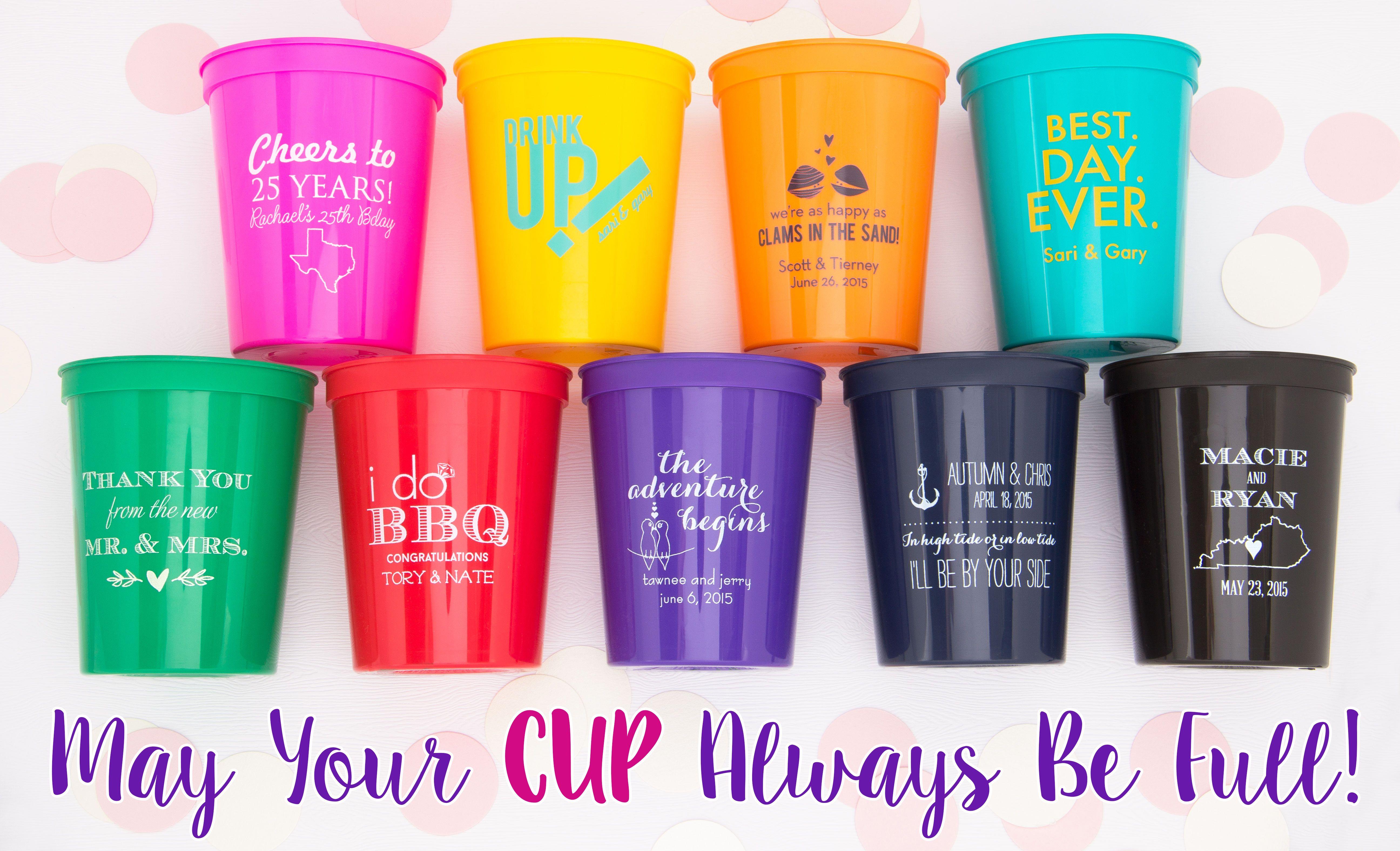 50-16 oz Personalized Custom Stadium Cups Wedding Rehearsal Dinner Monogram Logo Artwork Plastic Cups Drinks Favors We can do anything!