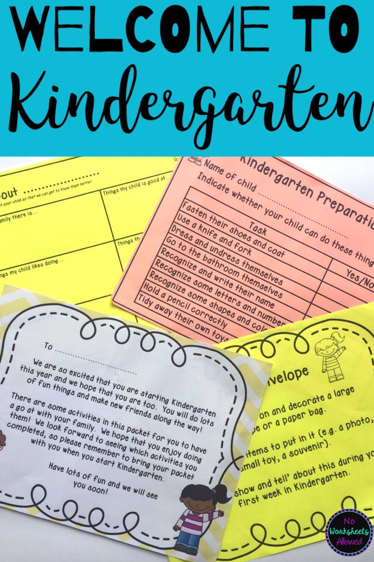 Kindergarten Orientation Welcome Letter Activities