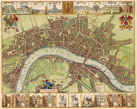 Huge vintage 1690 historic old world map of london england huge vintage 1690 historic old world map of london england restoration hardware style fine art print giclee poster gumiabroncs Gallery