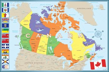 WALL MAP OF CANADA Poster All Provinces Territories Cities - Us Map Territories