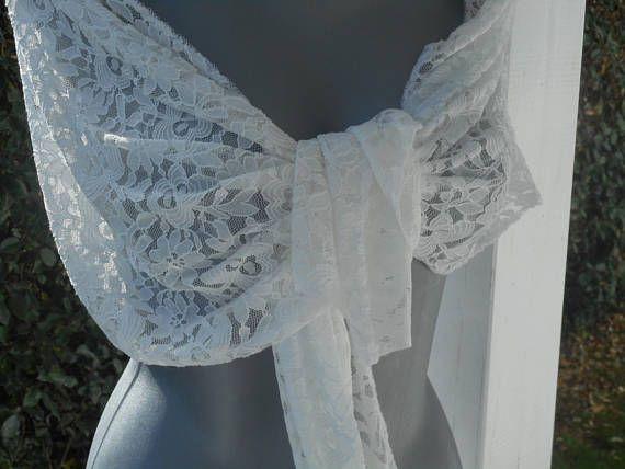 Etole écharpe foulard châle pour femme en dentelle blanche   agréable pour  mariage lin eva création nouvelle collection châle écharpe étole cfbfb5c912b