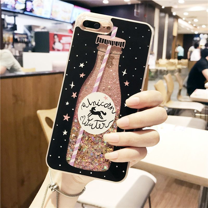Drink bottle quicksand Case for iphone 7 7Plus Dynamic liquid glitter Case  For iphone 6 6s 6Plus girl style-in Fitted Cases from Phones    Telecommunications ... c25af68455da