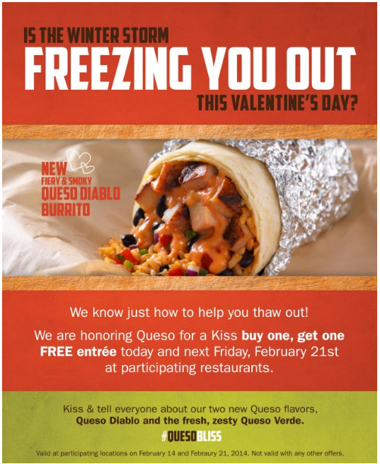 image relating to Qdoba Printable Coupons referred to as Pinned February 18th: Minute entree absolutely free for a kiss once more