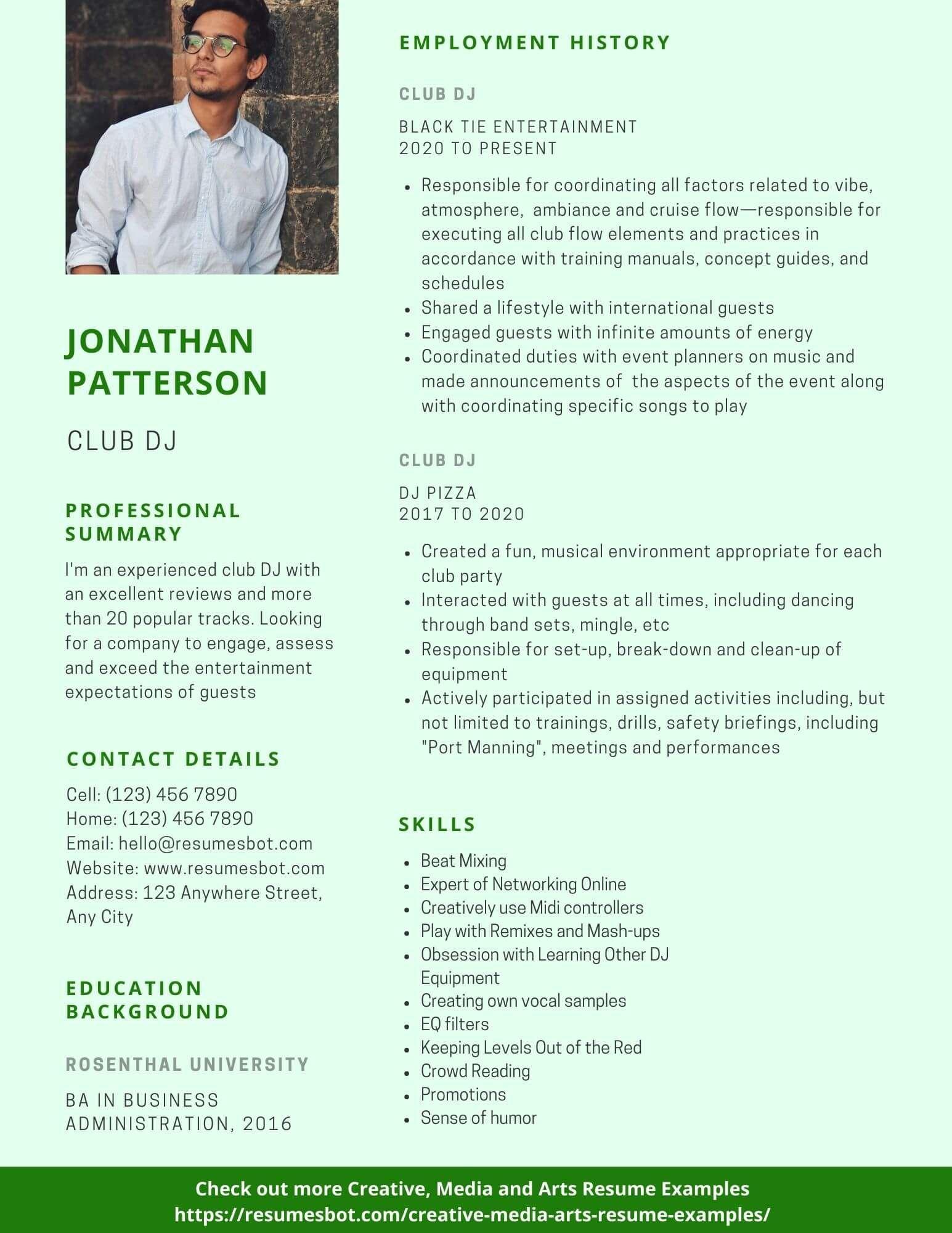 Dj resume samples templates pdfdoc 2019 resume