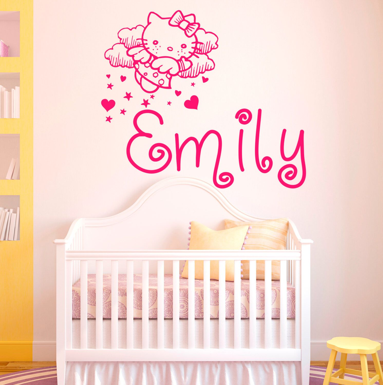 Wall Vinyl Decals Kitty Custom Personalized Name Monogram Cat - Custom vinyl stickers for girls