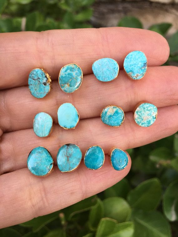Natural Turquoise Studs Earrings By Bijoulimon On Etsy