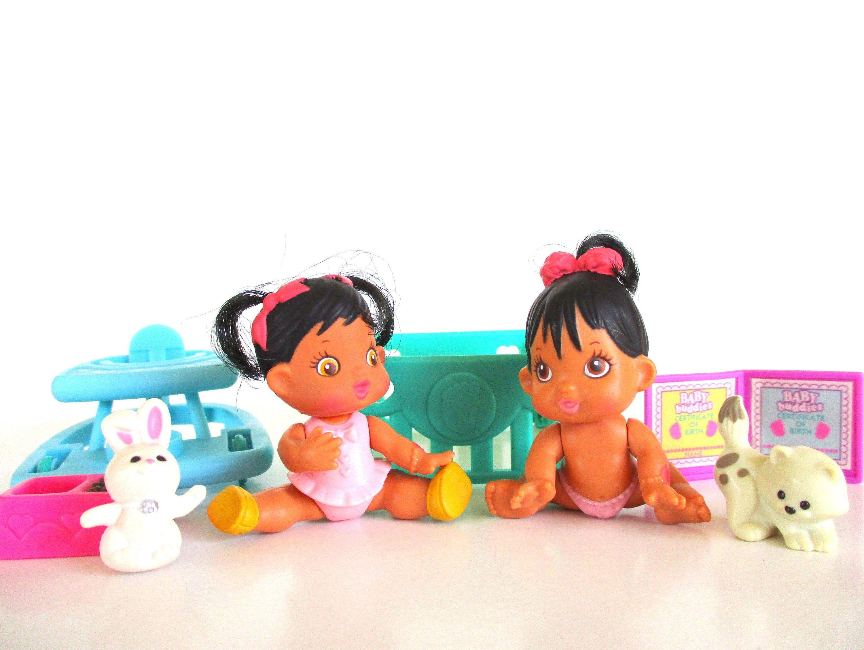 Vintage Baby Buddies Walk N Crawl Twins Doll Playset By Kenner 1995 Retro 90s Toy Twin Dolls Buddy Walk Pet Bunny
