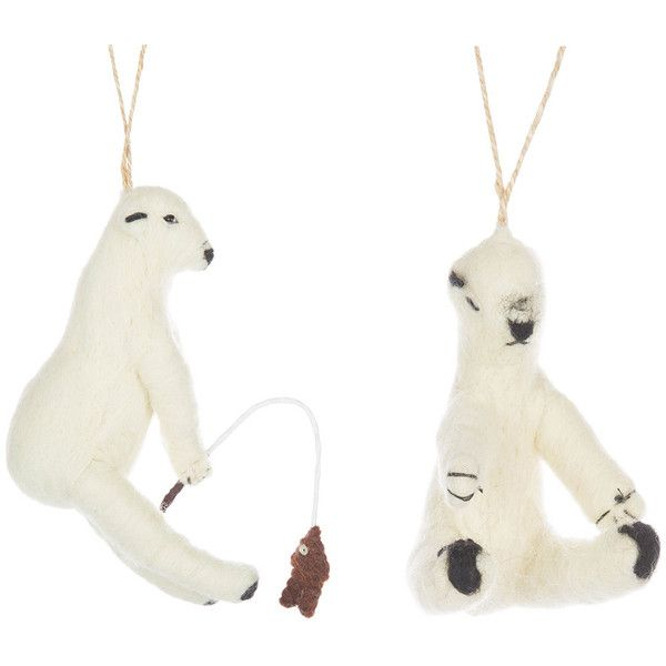 Cody Foster & Co Fishing Polar Bear Christmas Tree Decoration - Set of... ($33) ❤ liked on Polyvore featuring home, home decor, holiday decorations, fish home decor, fishing home decor, orange home decor and whimsical home decor