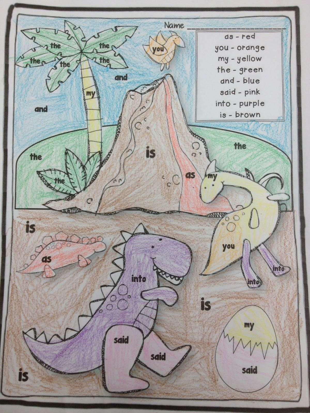 Keepin' It Kool In KinderLand: DINO-MITE Dinosaur Fun, dinosaur color by sight word