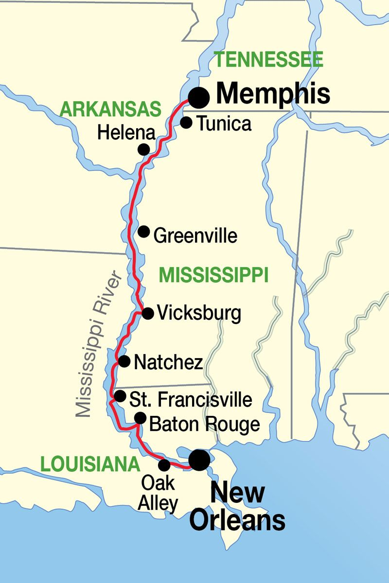New Orleans To Memphis Cruise Map Favorite Places Pinterest - Map of new orleans rivers