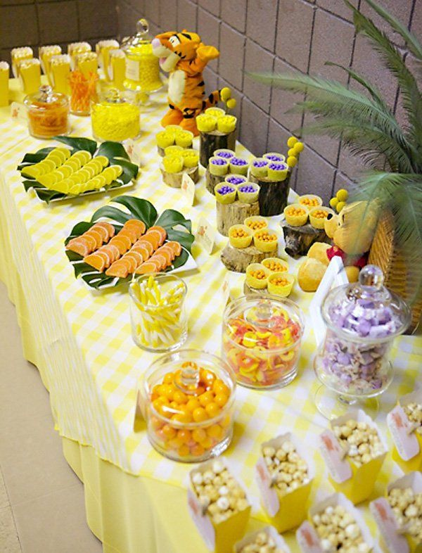 Winnie The Pooh Inspired Sweets Table 100 Acre Woods Baby Shower