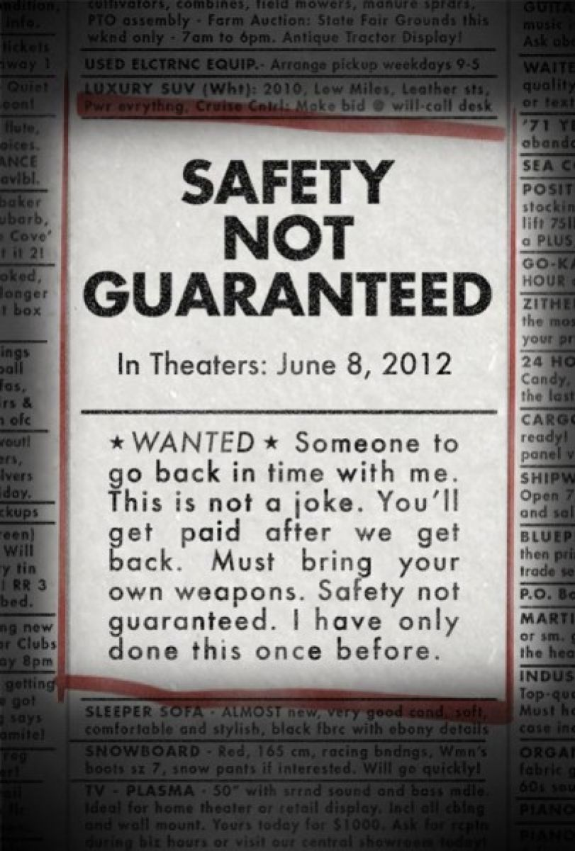 siff2012 Safety Not Guaranteed