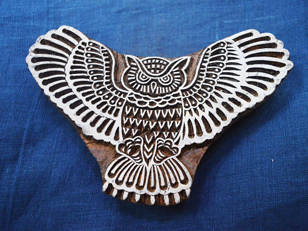 Wooden Printing Hand Carved Owl Stamp  Block Indian Print Textile Fabric Border