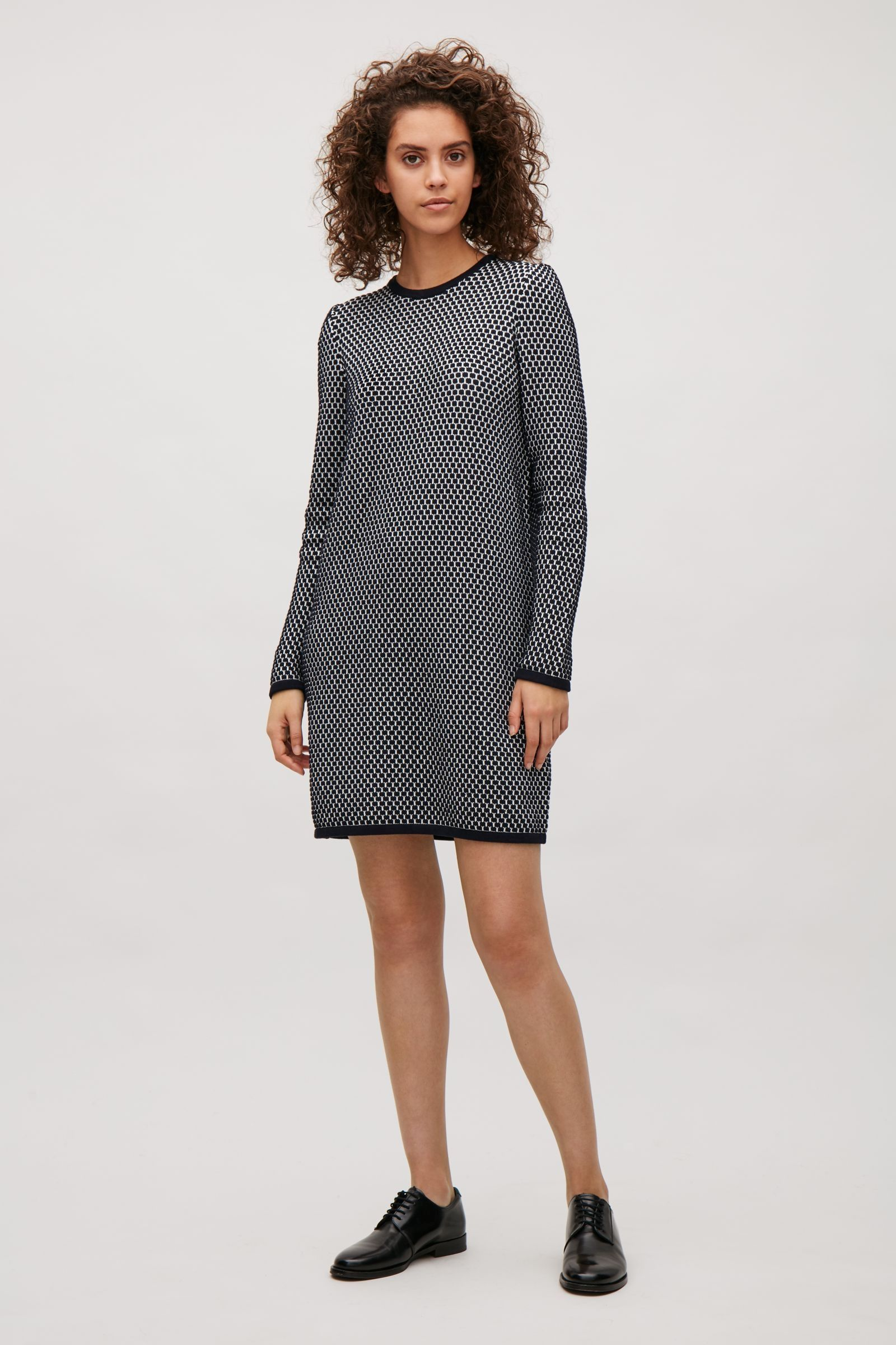 96643b0b668e COS image 1 of Raised knit dress in Dark Navy | Style: Wants & Needs ...