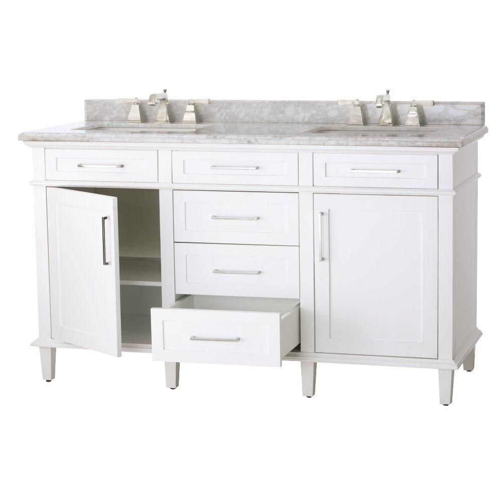 Home Decorators Collection Sonoma 60 In. W X 22 In. D Double Bath Vanity In  White With Natural Marble Vanity Top In Grey/White