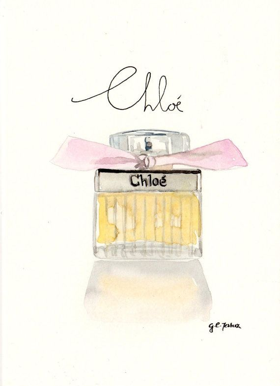 Chloe By Chloe Fragrance Watercolor Perfume Bottle Illustration