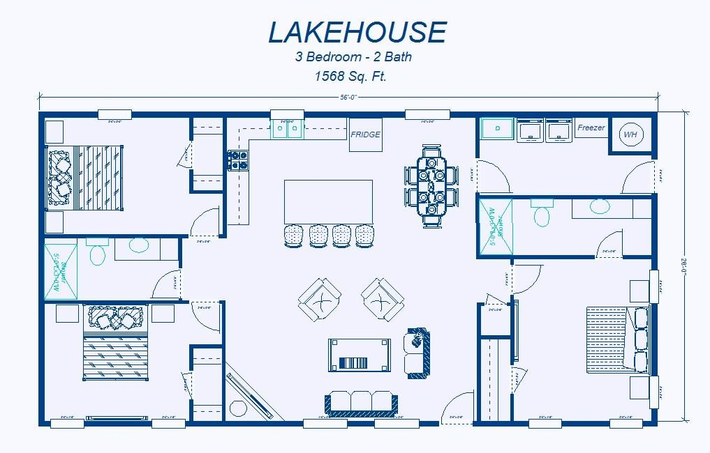 2 bedroom house simple plan david 39 s ready built homes for Small lake homes floor plans