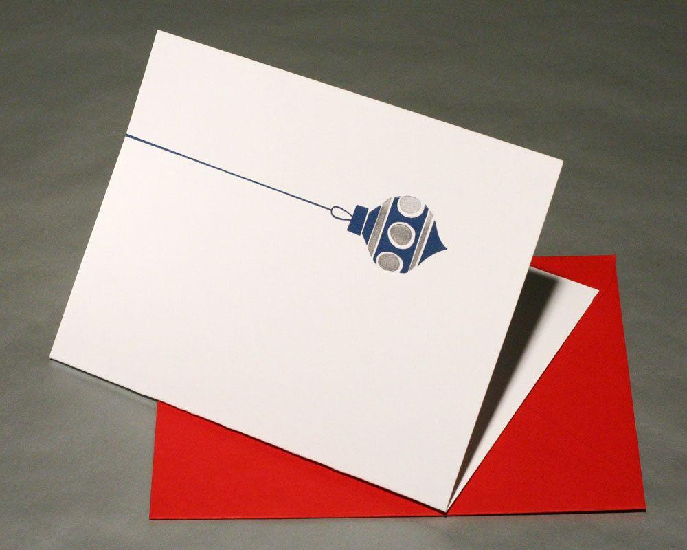Modern Ornament Letterpress Christmas Cards - Set of 4 - Blue ...