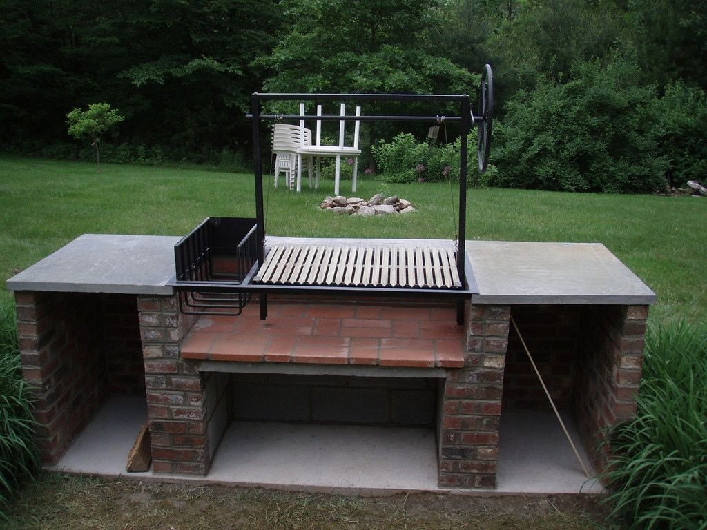 The Persimmon   54″ Argentine Masonry Grill Kit   Side Brasero   Flange