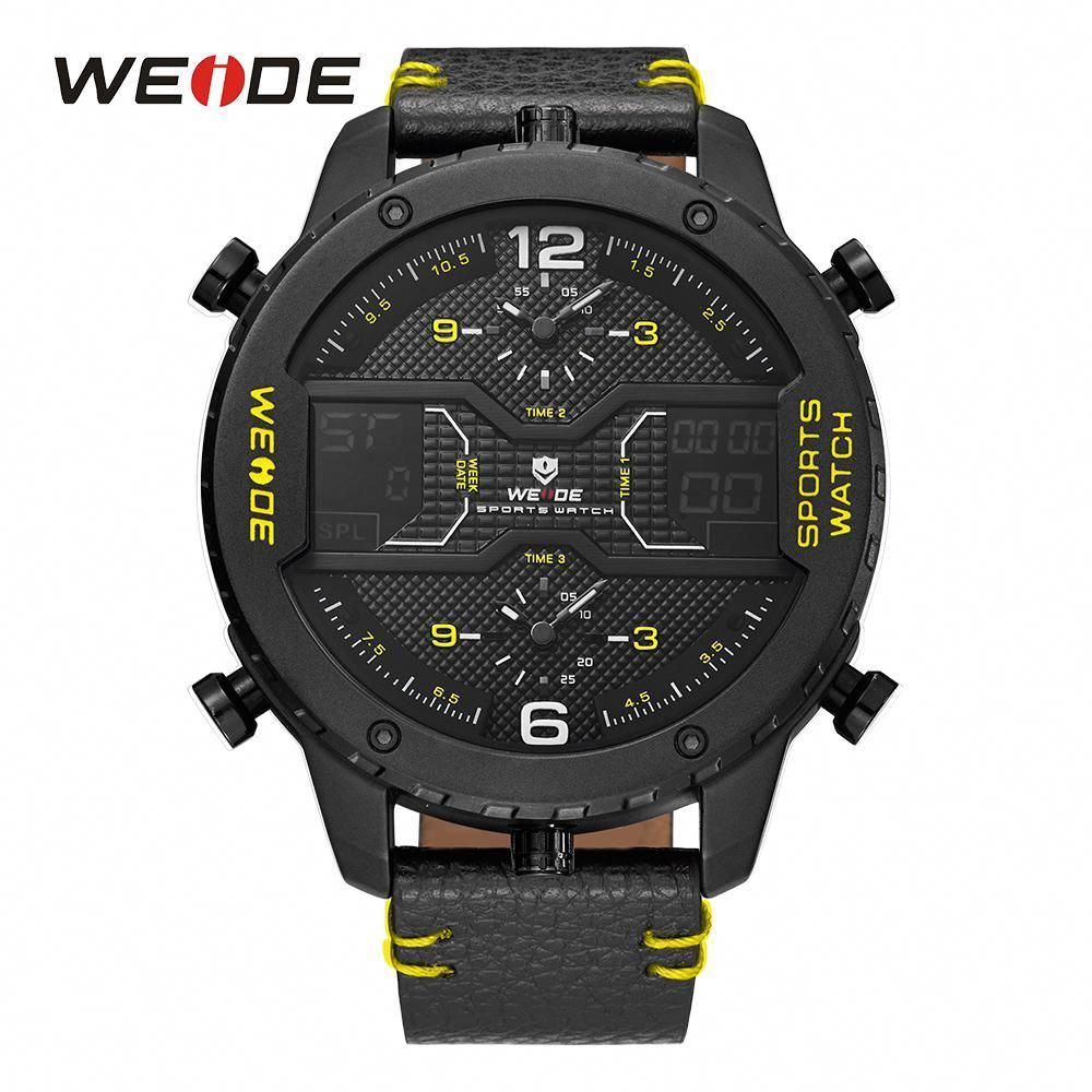 WEIDE Military Mens Three Time Zone Analog LCD Sport