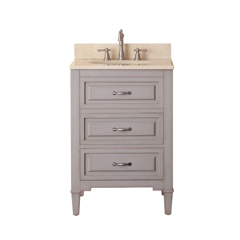 Avanity Kelly 25 In W X 22 In D X 35 In H Vanity In Grayish Blue With Marble Vanity Top In Galala Beige And White Basin Kelly Vs24 Gb B 24 Inch Vanity