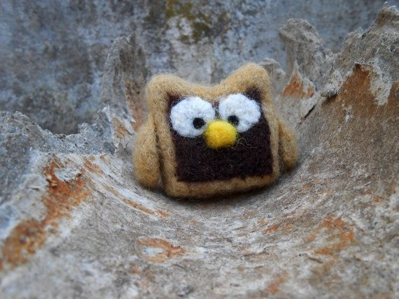 Needle felted Owl Ornament Natural Toy Brown by FuzzyNature, $17.00