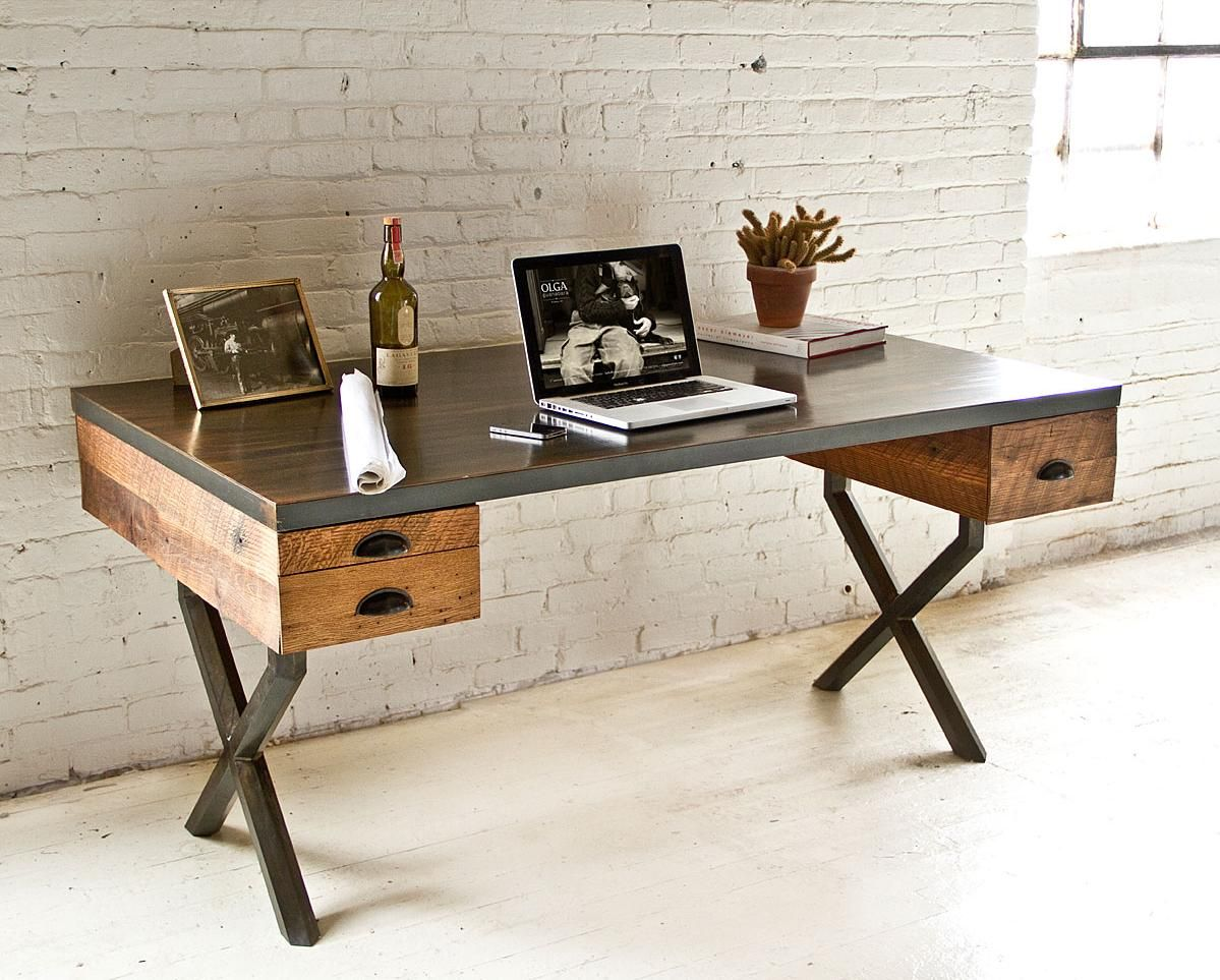 Steel And Reclaimed Wood Walter Desk By Richard Velloso
