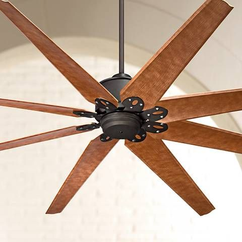 Large and effective this ceiling fan features a dark finish and damp rating   Large and effective this ceiling fan features a dark finish and damp rating