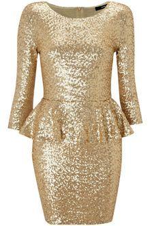 Tfnc Long Sleeved Peplum Sequin Dress - Lyst