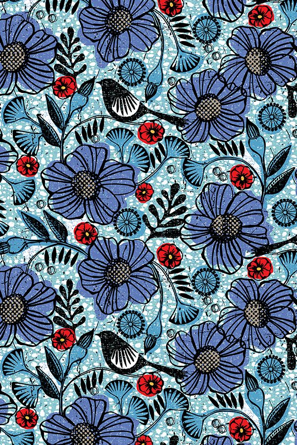 Blue Blooms and Black Birds by ottomanbrim - Teal and sea blue flowers and birds with bright red flowers on fabric, wallpaper, and gift wrap.  Beautiful block print style botanical illustration in black, blue, and poppy red.