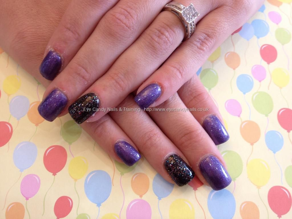 Eye Candy Nails & Training - Acrylic overlay with purple and black ...