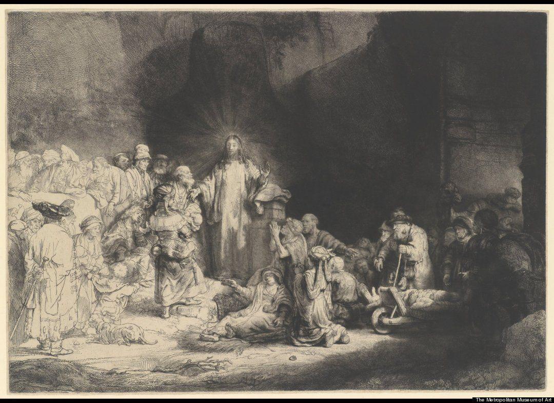 The Hundred Guilder Print Christ Preaching Bring Thy Little Children Unto Me C 1649 Rembrandt Harmensz Van Rijn Dutch Rembrandt Schilderij Kunstenaar
