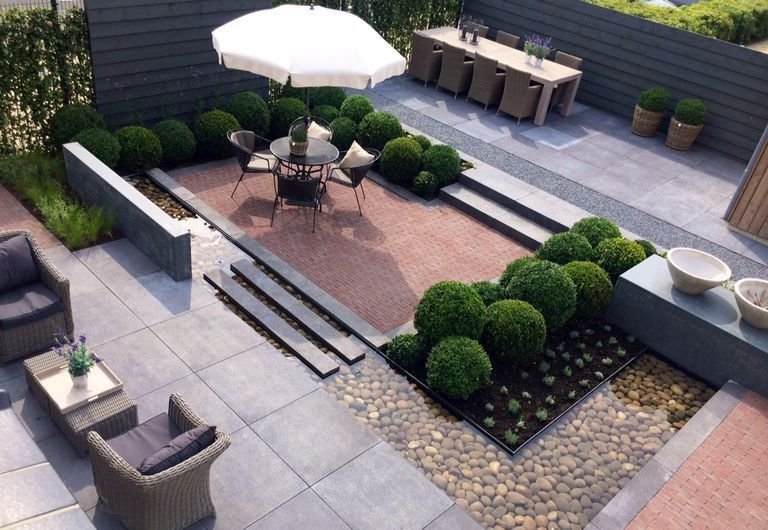 Outdoor Living Room Between The Spacious Terrace And The Lawn There Is A Wide Not Yet Planted Strip Of Bed In 2020 Modern Garden House Landscape Modern Landscaping