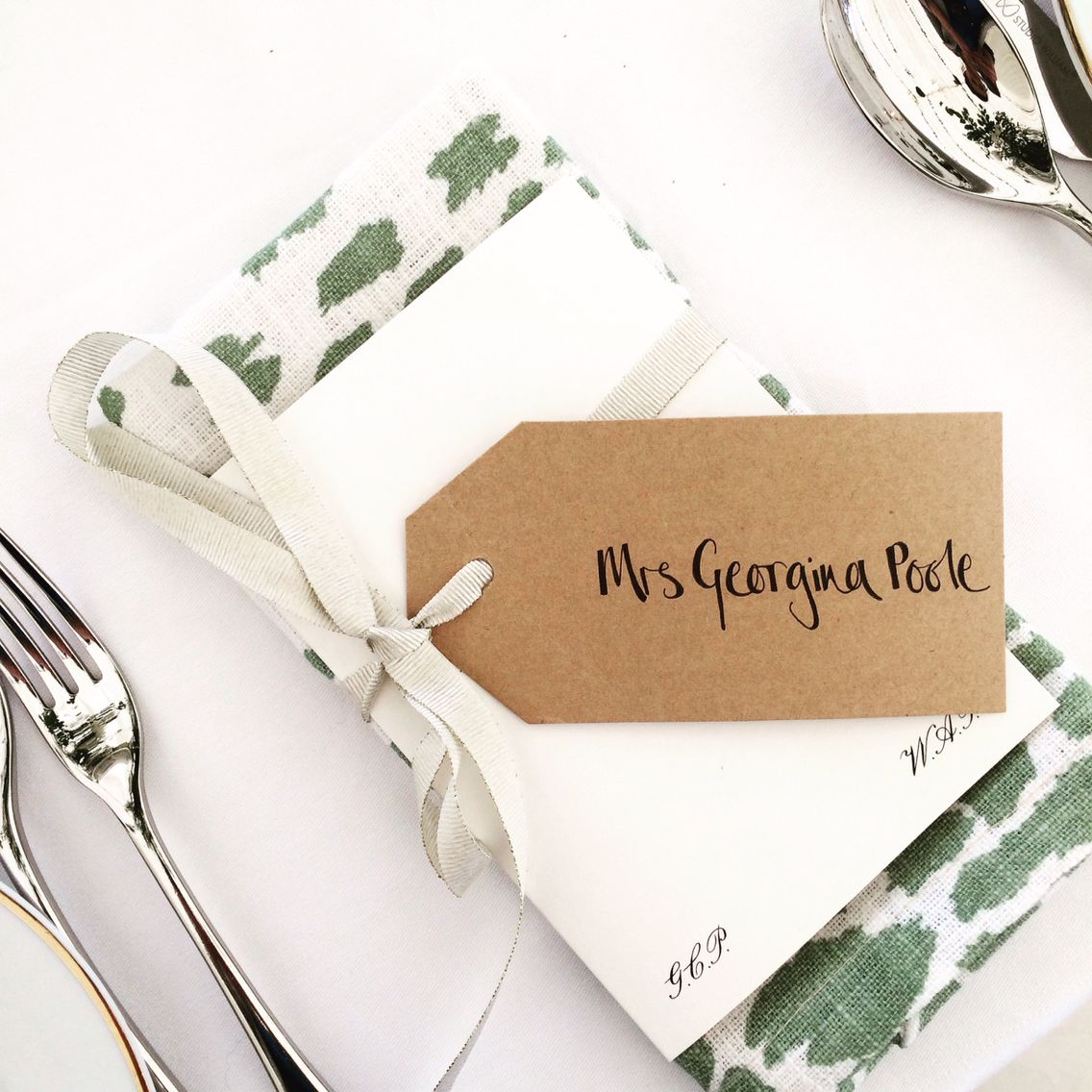Wedding place name / escort card / table setting / luggage tag at ...