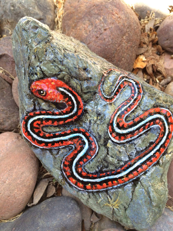 California Red Garter Snake Painted On Stone By Paintriver