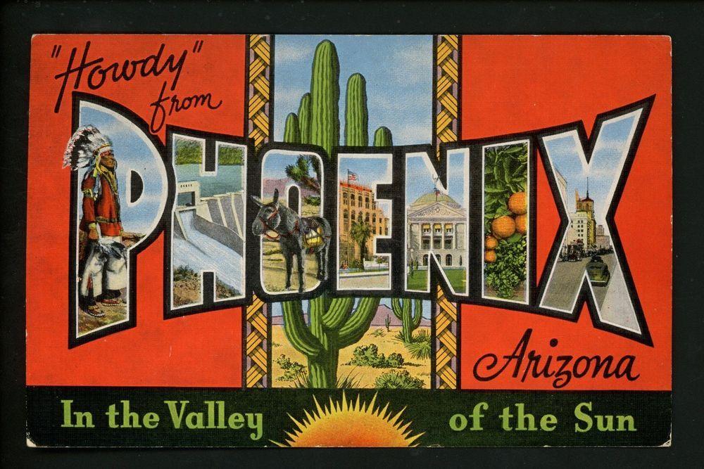Large Letter linen Vintage postcard Phoenix, Arizona AZ Kropp Native American
