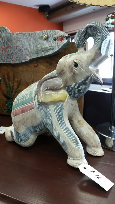 Happy Sunday!! Lots of gift ideas in store - check out this carved elephant, $42 #collingwood #homedecor #sculptures