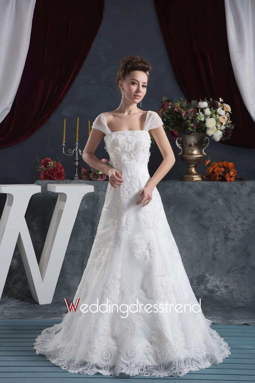 [$189.59] Romantic A-line Lace Chapel Train Wedding Dress