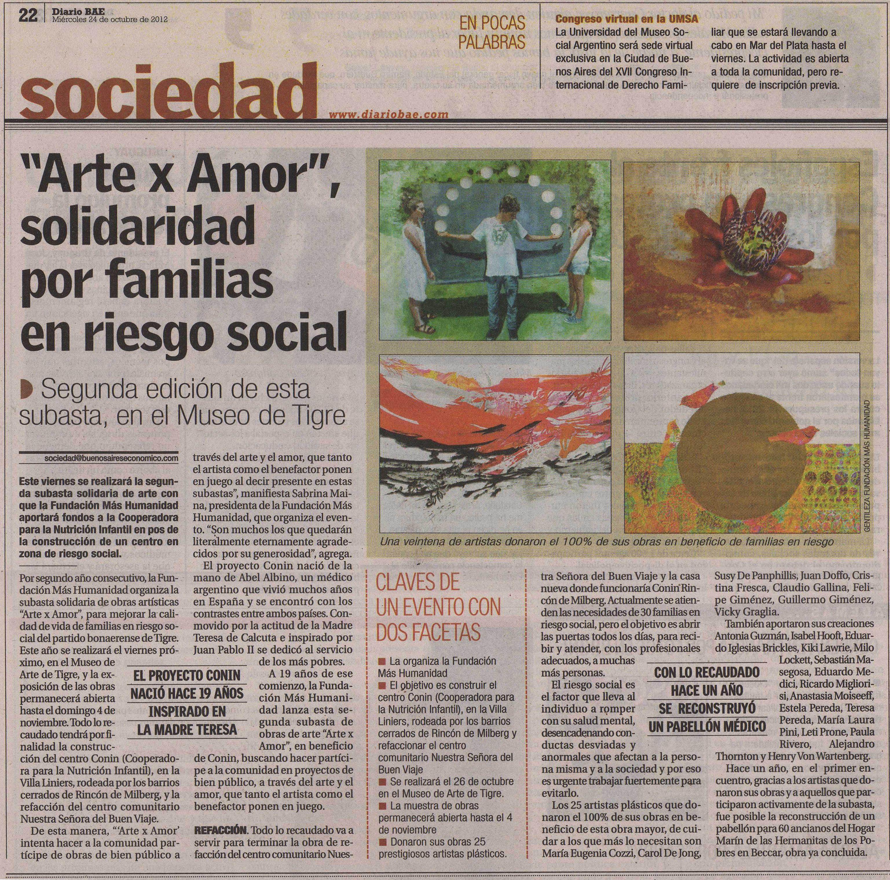 ARTE X AMOR. Fundación Conín. Rincón de Milberg.