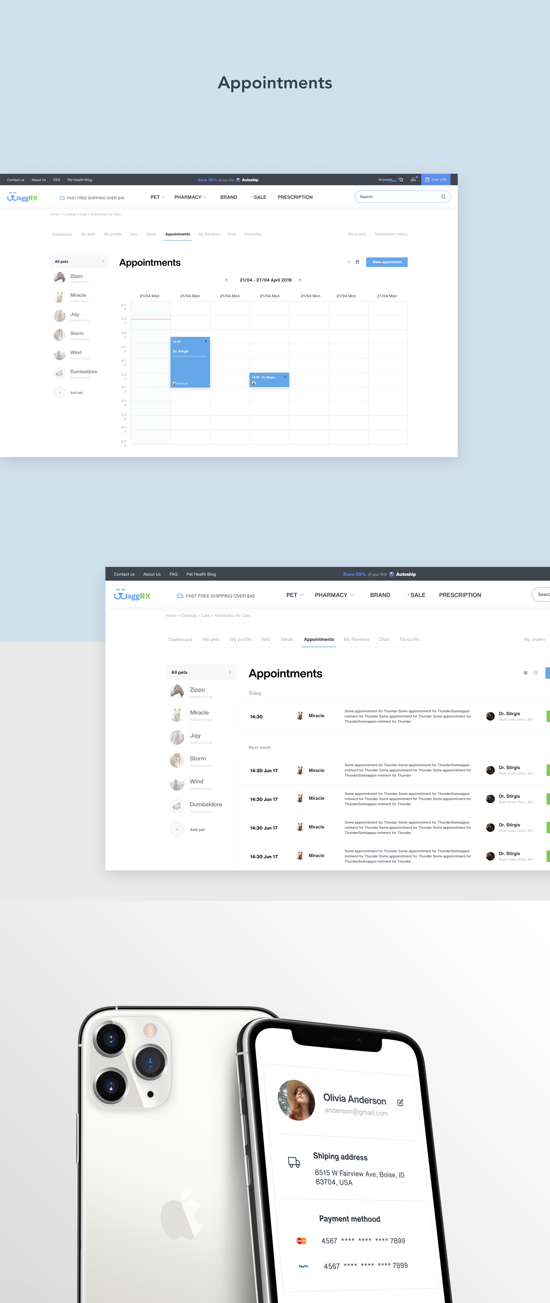 Appointments In Online Vet Pharmacy Made By Litnevski Studio In 2020 Web Design Healthcare Design Online Vet