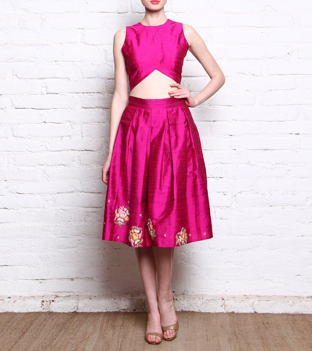 90bd8252616dd Saachi Thahryamal - Pink Embroidered   Embellished Raw Silk Skirt   Crop  Top Set Click on the photo to shop!  )